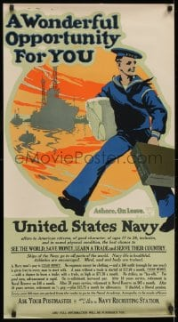 2k074 WONDERFUL OPPORTUNITY FOR YOU 21x38 WWI recruiting poster 1917 join the Navy & see the world!