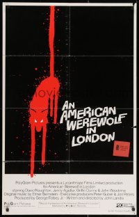 2m203 AMERICAN WEREWOLF IN LONDON int'l 25x40 1sh 1981 best art of red wolf over black background!