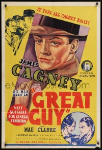 2m180 GREAT GUY Aust 1sh 1936 different stone litho of James Cagney, it tops all his roles, rare!