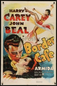 2m204 BORDER CAFE 1sh 1937 different romantic art of cowboy John Beal about to kiss sexy Armida!