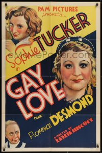 2m209 GAY LOVE 1sh 1934 great stone litho of Sophie Tucker, The Last of the Red Hot Mamas, rare!