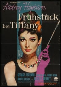 2m176 BREAKFAST AT TIFFANY'S German 1962 different Peltzer art of sexy Audrey Hepburn, ultra rare!