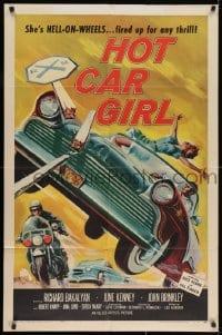 2m211 HOT CAR GIRL 1sh 1958 she's Hell-on-wheels, fired up for any thrill, classic car racing art!