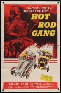 2m212 HOT ROD GANG 1sh 1958 fast cars, crazy kids, great art of teens in dragsters & dancing girl!