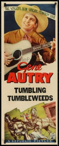 2m035 GENE AUTRY insert 1930s The Screen's New Singing Cowboy Star in Tumbling Tumbleweeds!