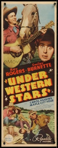 2m040 UNDER WESTERN STARS insert 1938 Roy Rogers' first starring movie with Smiley Burnette!