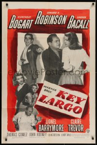 2m213 KEY LARGO 1sh 1948 Humphrey Bogart, Lauren Bacall, Edward G. Robinson, Huston, very rare!