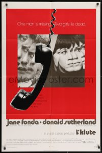 2m214 KLUTE 1sh 1971 Donald Sutherland & Jane Fonda, dangling telephone, cool alternate design!