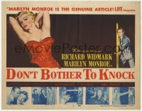 2m244 DON'T BOTHER TO KNOCK TC 1952 classic image of sexiest Marilyn Monroe on brown background!