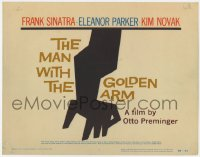 2m005 MAN WITH THE GOLDEN ARM TC 1956 Frank Sinatra, Otto Preminger, drugs, classic Saul Bass art!