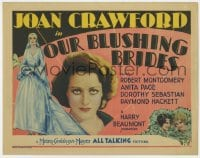 2m257 OUR BLUSHING BRIDES TC 1930 Joan Crawford close up & as bride in wedding dress, ultra rare!