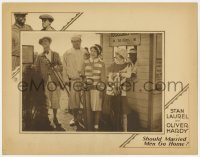 2m373 SHOULD MARRIED MEN GO HOME LC 1928 Stan Laurel & Oliver Hardy golfing w/ pretty girls, rare!