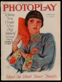 2m195 PHOTOPLAY magazine February 1927 wonderful colorful art of Louise Brooks by Carl Van Buskirk!