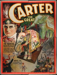 2m027 CARTER THE GREAT 81x107 magic poster 1926 cool art of the vanishing sacred elephant, rare!