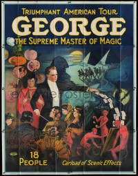 2m028 GEORGE THE SUPREME MASTER OF MAGIC 80x102 magic poster 1920s Egypt, devils, cards and more!