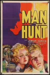2m215 MAN HUNT 1sh 1933 great colorful art of Mrs. Wallace Reid Dorothy Davenport, ultra rare!
