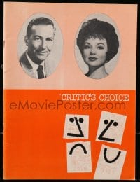 2m008 CRITIC'S CHOICE group of 2 stage play programs 1962 one with great Saul Bass cover art!