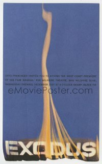 2m009 EXODUS 5x8 world premiere invitation 1961 deliberately burned by Saul Bass' staff, rare!