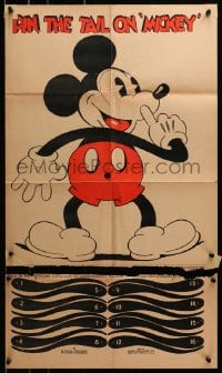 2m188 MICKEY MOUSE 18x30 game poster 1930s cool Pin the Tail on Mickey birthday party game, rare!