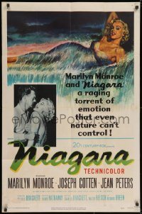 2m219 NIAGARA 1sh 1953 classic art of giant sexy Marilyn Monroe on famous waterfall + added image!