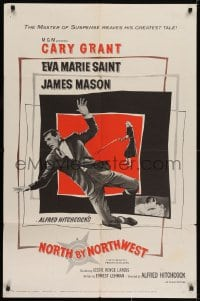 2m220 NORTH BY NORTHWEST 1sh 1959 Alfred Hitchcock classic with Cary Grant & Eva Marie Saint!