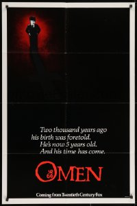 2m221 OMEN style B recalled int'l teaser 1sh 1976 Satanic horror, unused inverted cross image!