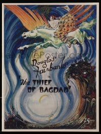2m185 THIEF OF BAGDAD souvenir program book 1924 colorful art of Douglas Fairbanks on winged horse!