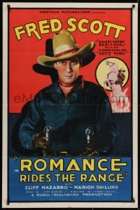 2m226 ROMANCE RIDES THE RANGE 1sh 1936 great c/u of singing cowboy Fred Scott pointing two guns!