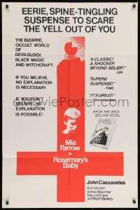 2m227 ROSEMARY'S BABY 1sh 1968 Roman Polanski, Mia Farrow, different upside-down cross image!