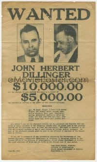 2m192 JOHN DILLINGER 8x14 special poster 1934 cool wanted poster with $10,000 reward, ultra rare!