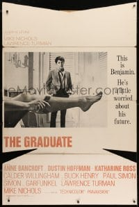 2m031 GRADUATE pre-Awards 38x57 standee 1968 classic image of Dustin Hoffman & sexy leg, very rare!