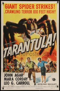 2m228 TARANTULA 1sh 1955 Jack Arnold, Reynold Brown art of town running from 100 ft spider monster!