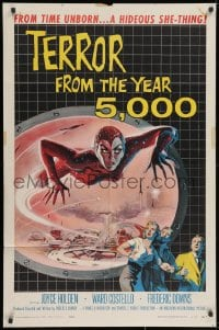 2m229 TERROR FROM THE YEAR 5,000 1sh 1958 wonderful art of the hideous she-thing from time unborn!
