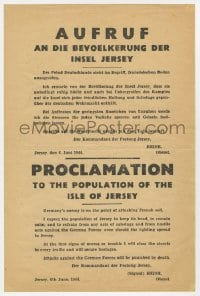 2m198 PROCLAMATION TO THE POPULATION OF THE ISLE OF JERSEY 8x12 German WWII war poster 1944 D-Day!
