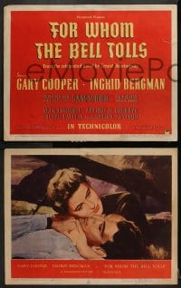 2m233 FOR WHOM THE BELL TOLLS 8 LCs 1943 Gary Cooper, Ingrid Bergman, Hemingway, rare complete set!