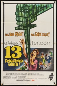 2p006 13 FRIGHTENED GIRLS 1sh 1963 William Castle, great screaming women artwork!