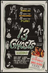 2p007 13 GHOSTS 1sh 1960 William Castle, great art of the spooks, horror in ILLUSION-O!