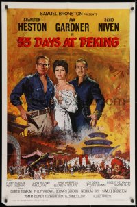 2p012 55 DAYS AT PEKING 1sh 1963 Terpning art of Charlton Heston, Ava Gardner & David Niven!