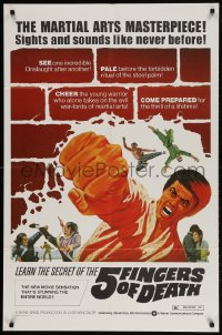 2p011 5 FINGERS OF DEATH 1sh 1973 martial arts masterpiece with sights & sounds like never before!