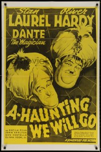 2p020 A-HAUNTING WE WILL GO 1sh R1960s wacky Stan Laurel & Oliver Hardy in turbans!