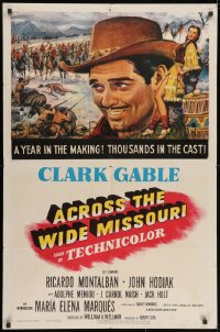 2p014 ACROSS THE WIDE MISSOURI 1sh 1951 art of smiling Clark Gable & sexy Maria Elena Marques!