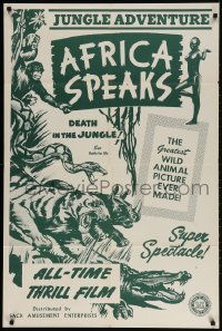2p019 AFRICA SPEAKS 1sh R1942 jungle documentary, really cool wildlife artwork!