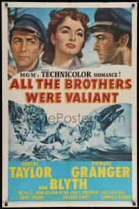 2p031 ALL THE BROTHERS WERE VALIANT 1sh 1953 Robert Taylor, Stewart Granger, whaling artwork!