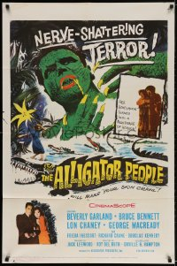 2p035 ALLIGATOR PEOPLE 1sh 1959 Beverly Garland, Lon Chaney, they'll make your skin crawl!