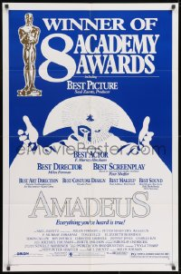 2p037 AMADEUS awards 1sh 1984 Milos Foreman, Mozart biography, winner of 8 Academy Awards!