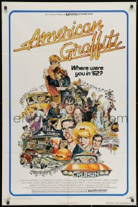 2p038 AMERICAN GRAFFITI 1sh 1973 George Lucas teen classic, Mort Drucker montage art of cast!