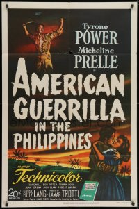 2p039 AMERICAN GUERRILLA IN THE PHILIPPINES 1sh 1950 Tyrone Power, Fritz Lang, WWII!