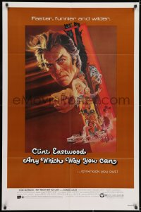 2p049 ANY WHICH WAY YOU CAN 1sh 1980 cool artwork of Clint Eastwood & Clyde by Bob Peak!