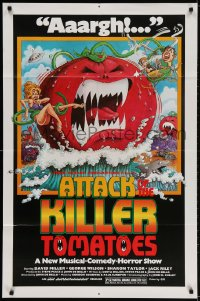 2p057 ATTACK OF THE KILLER TOMATOES 1sh 1979 wacky monster artwork by David Weisman!