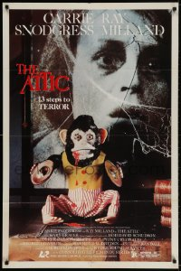 2p058 ATTIC 1sh 1980 Carrie Snodgress, Ray Milland, creepy monkey, 13 steps to terror!